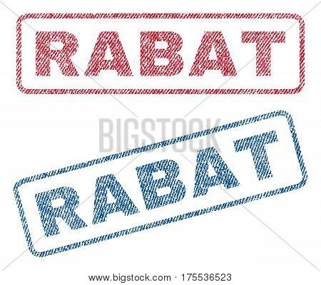 Rabat text textile seal stamp watermarks. Blue red fabric vectorized texture. Vector caption inside rounded rectangular banner. Rubber emblem with fiber textile structure.