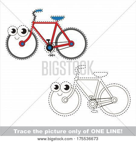 Funny Bicycle to be traced only of one line, the tracing educational game to preschool kids with easy game level, the colorful and colorless version.