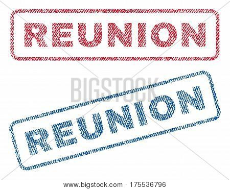 Reunion text textile seal stamp watermarks. Blue red fabric vectorized texture. Vector caption inside rounded rectangular banner. Rubber emblem with fiber textile structure.