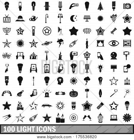 100 light icons set in simple style for any design vector illustration