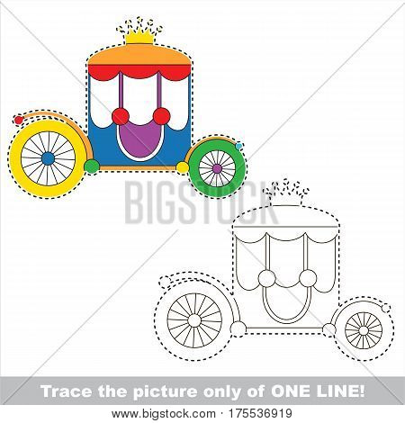 Chariot to be traced only of one line, the tracing educational game to preschool kids with easy game level, the colorful and colorless version.