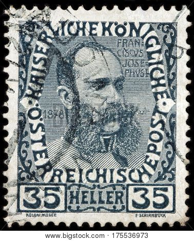 LUGA RUSSIA - FEBRUARY 7 2017: A stamp printed by AUSTRIA shows image portrait of Austrian emperor Franz Joseph I in 1878 circa 1908