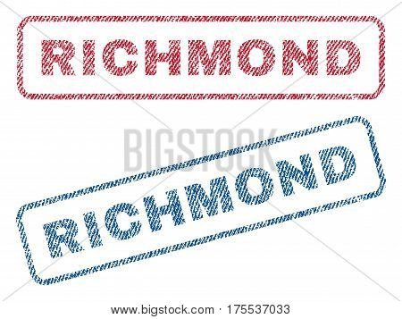Richmond text textile seal stamp watermarks. Blue red fabric vectorized texture. Vector caption inside rounded rectangular shape. Rubber sign with fiber textile structure.