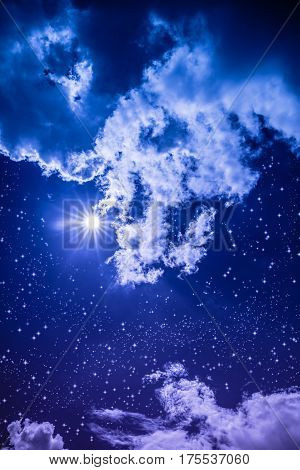 Amazing Dark Night Sky With Many Stars, Bright Full Moon And Cloudy.