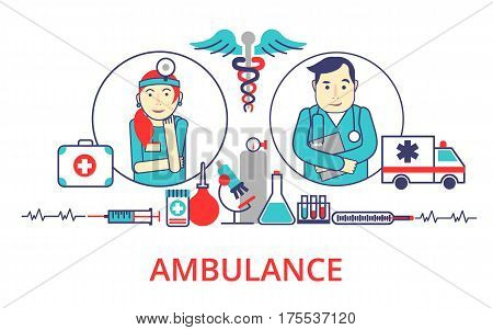 Helth care control concept in flat line style. Vector illustration with hospital, ambulance, doctors for web banner, info graphic and graphic design.