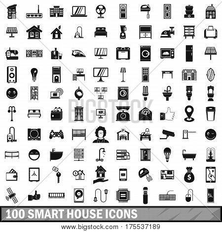 100 smart house icons set in simple style for any design vector illustration