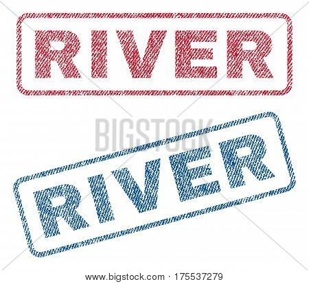 River text textile seal stamp watermarks. Blue red fabric vectorized texture. Vector caption inside rounded rectangular shape. Rubber sticker with fiber textile structure.