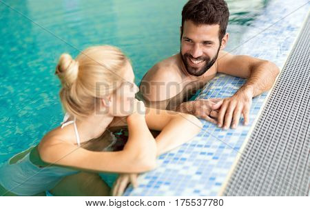 Couple Relaxing At Wellness Spa Resort