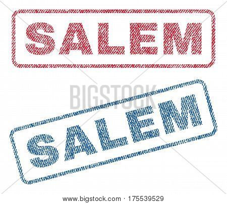 Salem text textile seal stamp watermarks. Blue red fabric vectorized texture. Vector tag inside rounded rectangular banner. Rubber sticker with fiber textile structure.