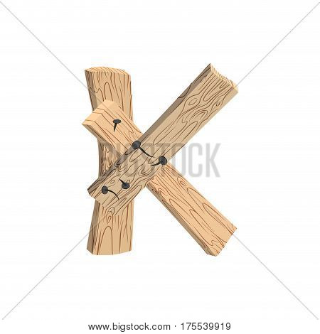 Letter K Wood Board Font. Plank And Nails Alphabet. Lettering Of Boards. Country Chipboard Abc