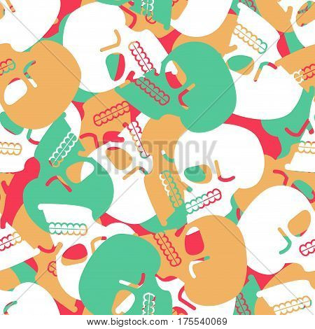 Skull Seamless Pattern. Texture Skeleton Head. Skulls Ornament. Bone Background
