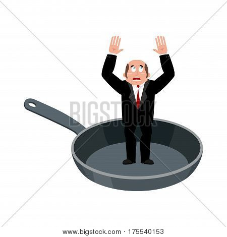 Businessman In Frying Pan. Sinner In Cauldron. Boss Is Frying On Hellfire. Religion Is Punishment Fo