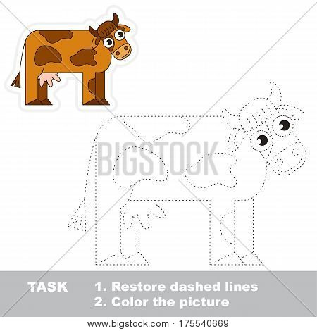 Brown Cow. Dot to dot educational game for kids. Tracing worksheet.