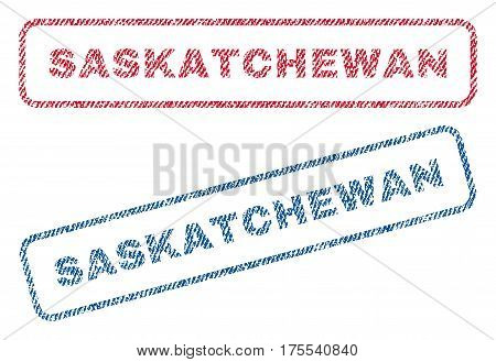 Saskatchewan text textile seal stamp watermarks. Blue red fabric vectorized texture. Vector tag inside rounded rectangular shape. Rubber emblem with fiber textile structure.