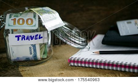US dollars, Korean Won, Euro bills and some money bills and banknotes. Currency foreign exchange. Business and Financial or money savings for travel.