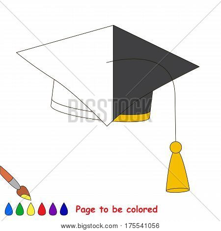 Educational Square Black Hat, the coloring book to educate preschool kids with easy gaming level, the kid educational game to color the colorless half by sample.