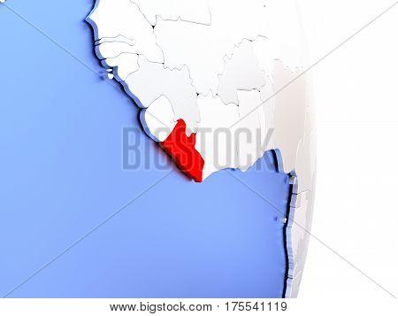Liberia On Elegant Modern 3D Globe