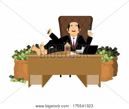 Rich Man Sits At Table And Drinks Whiskey. To Smoke Cigar. Plutocrat And Bag Money. Big Boss Busines