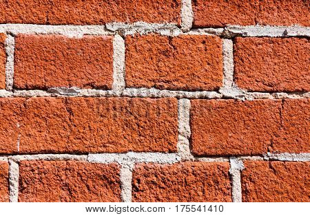 Close-up of the red brick wall texture with white seams