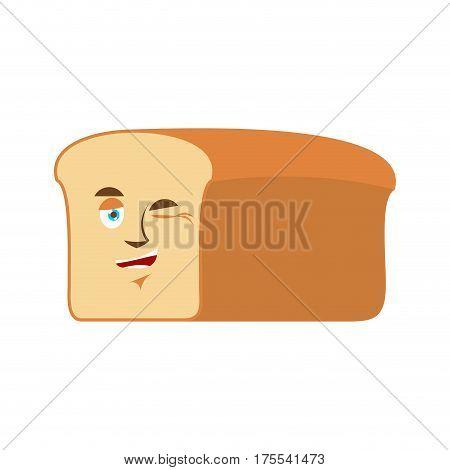 Bread Winks Emoji. Piece Of Bread Happy Emotion Isolated