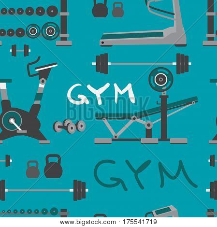 Seamless textile pattern of gym training bodybuilding healthy and active lifestyle fitness elements. Vector flat cartoon background