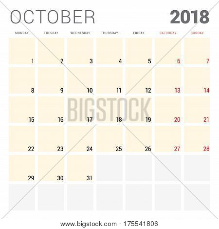 2018 calendar planner vector design template. October. Week starts on Monday. Stationery design poster