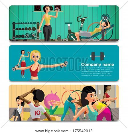 Young women exercising with dumbbells and doing fitness group exercises. Sale discount gift card. Branding design to the gym and sports club