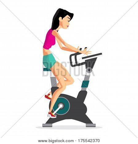 Caucasian woman riding stationary bicycle in the gym. Sporty girl exercising on training cycle. Flat cartoon isolated vector illustration