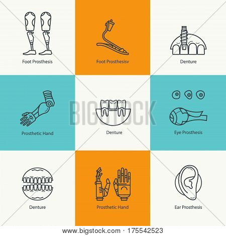 Prosthetics icons set. Medical mechanical prostheses and replacement of parts of the body. Concept in the trendy linear style.