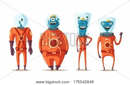 Friendly aliens. Cartoon vector illustration. Ufo. Retro poster. Space theme. Funny monsters mutant character