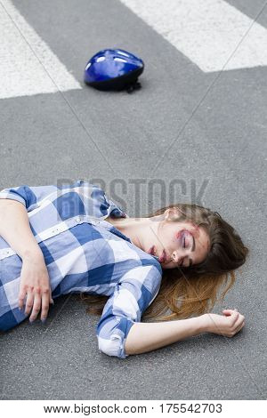 Unconscious Hurt Casualty Of Car Accident