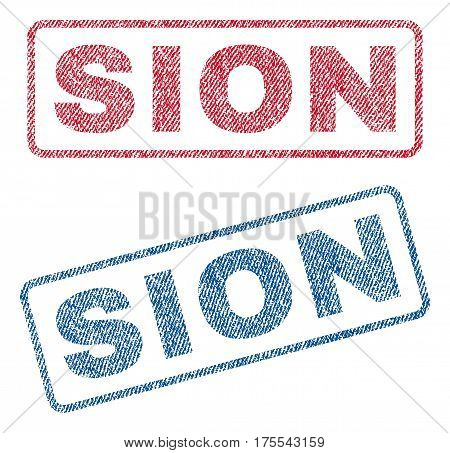 Sion text textile seal stamp watermarks. Blue red fabric vectorized texture. Vector caption inside rounded rectangular banner. Rubber sticker with fiber textile structure.