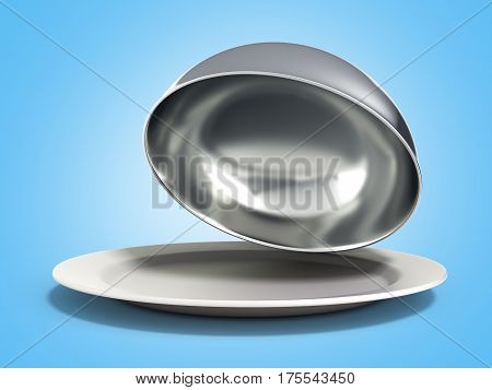 Restaurant Cloche With Open Lid 3D Render On Blue