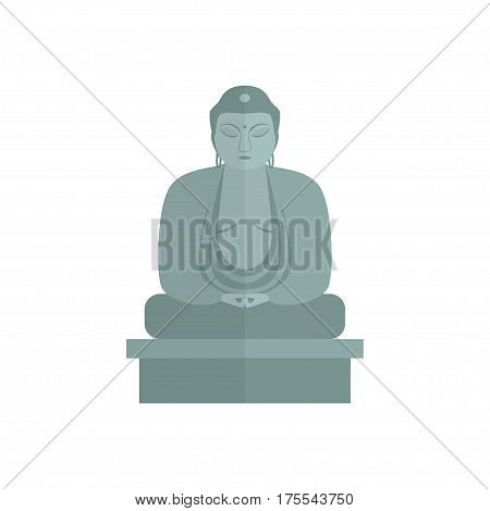A flat stylized gray stone Buddha statue on a white background. Isolated. Vector illustration