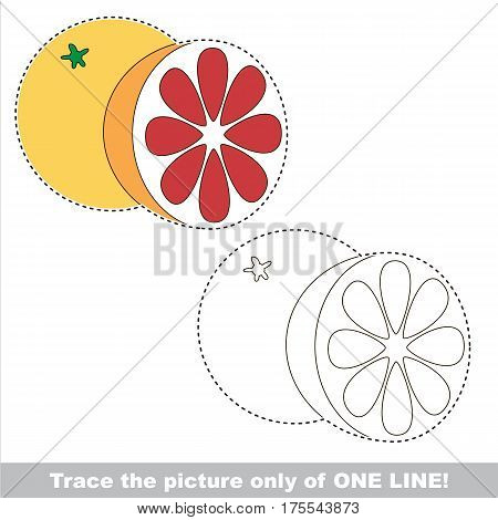 Grapefruit to be traced only of one line, the tracing educational game to preschool kids with easy game level, the colorful and colorless version.
