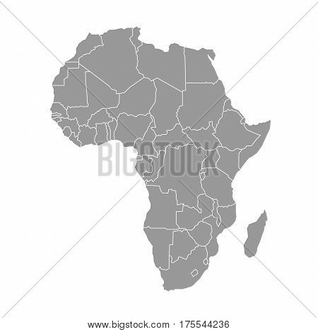 Simple flat grey map of Africa continent with national borders isolated on white background. Vector illustration.