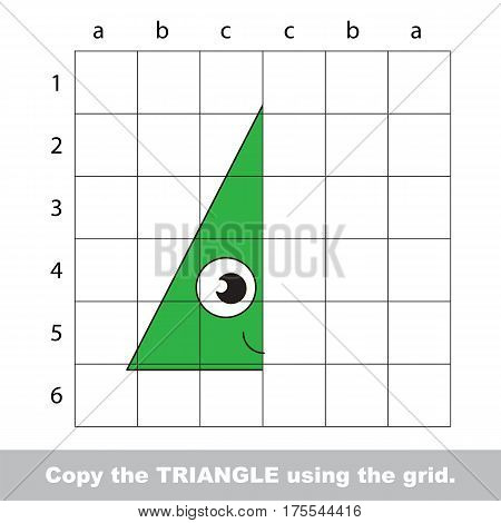 Finish the simmetry picture using grid sells, vector kid educational game for preschool kids, the drawing tutorial with easy gaming level for half of Green Triangle