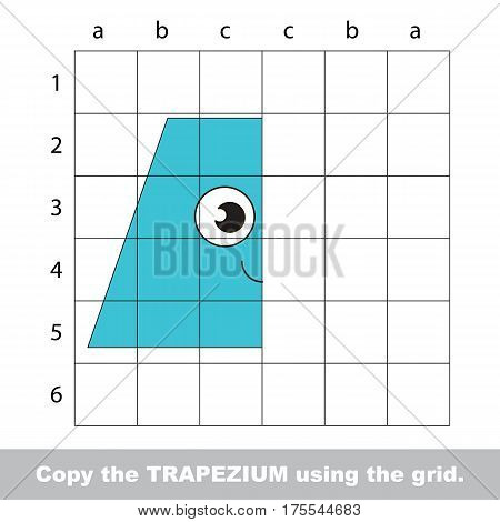 Finish the simmetry picture using grid sells, vector kid educational game for preschool kids, the drawing tutorial with easy gaming level for half of Blue Trapezium