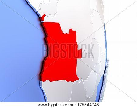 Angola On Elegant Modern 3D Globe