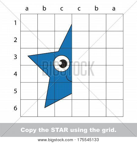 Finish the simmetry picture using grid sells, vector kid educational game for preschool kids, the drawing tutorial with easy gaming level for half of Blue Star