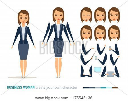 Businesswoman character animation and creation set. Woman with phone, tablet, pointer. Parts of body for design you scene. Faces, emotions, clothes. Cartoon boss, secretary or manager constructor