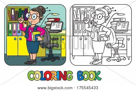 Funny interpreter or translator coloring book. A smart woman in round glasses and a suit with books under his arm and headset, raised index finger. Profession ABC series. Children vector illustration.