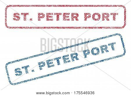 St.Peter Port text textile seal stamp watermarks. Blue red fabric vectorized texture. Vector tag inside rounded rectangular shape. Rubber emblem with fiber textile structure.