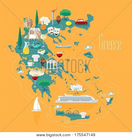 Map of Greece with islands vector illustration design element. Icons with Greek ancient ruins acropolis. Explore Greece concept image