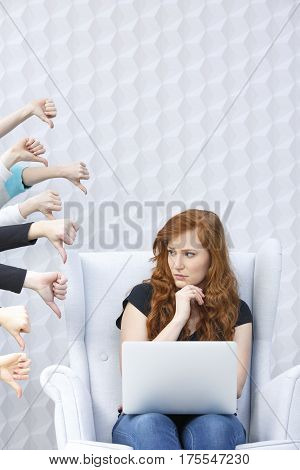 Dissatisfied Girl With Laptop