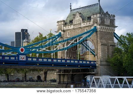 view of the tower bridge from river thames