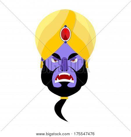 Genie Angry Emoji. Magic Ghost Aggressive Emotion. Arabic Magic Spirit Avatar