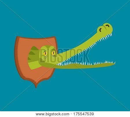 Crocodile Hunter Trophy. Head Of Alligator Is On Shield. Scarecrow Wild Reptile Predator