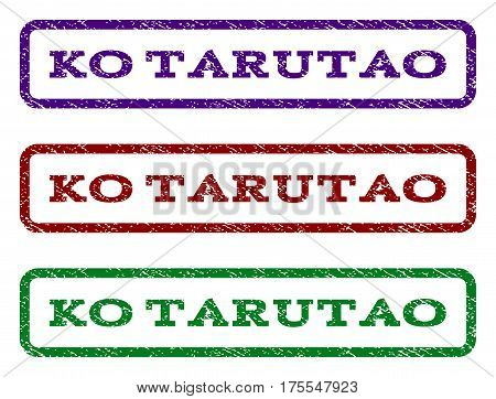Ko Tarutao watermark stamp. Text tag inside rounded rectangle frame with grunge design style. Vector variants are indigo blue, red, green ink colors. Rubber seal stamp with dirty texture.