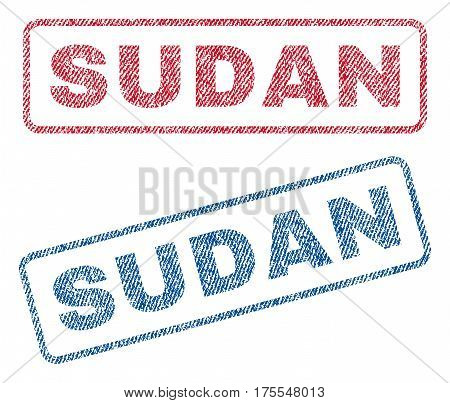 Sudan text textile seal stamp watermarks. Blue red fabric vectorized texture. Vector caption inside rounded rectangular shape. Rubber sign with fiber textile structure.